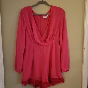 Glamorous Pink Long-sleeved Romper